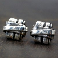 Men's Sterling Silver Square Knot Stud Earrings
