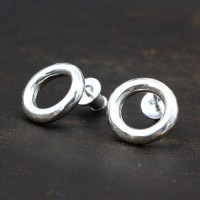Men's Sterling Silver Hammered Ring Stud Earrings