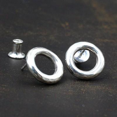 Men's Sterling Silver Hammered Ring Stud Earrings