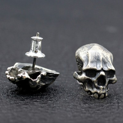 Men's Sterling Silver Skull Stud Earrings