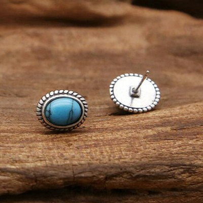 Sterling Silver Turquoise Stud Earrings
