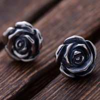 Women's Sterling Silver Rose Stud Earrings