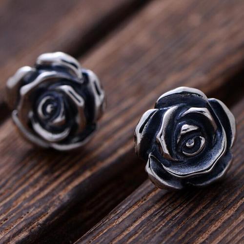 Women's Sterling Silver Rose Stud Earrings
