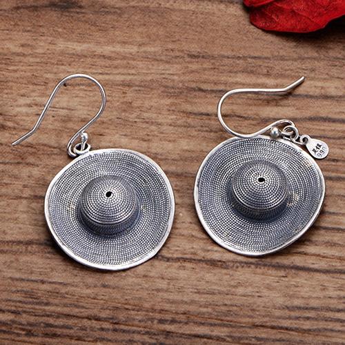 Women's Fine Silver Straw Hat Earrings