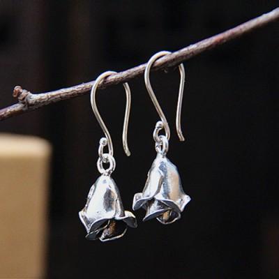 Women's Sterling Silver Rose Drop Earrings