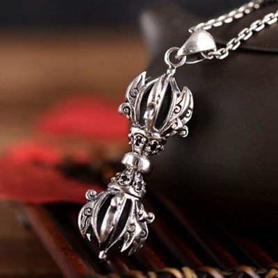 """Men's Sterling Silver Pestle Necklace with Sterling Silver Anchor Link Chain 18""""-30"""""""