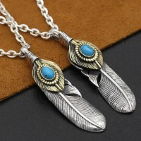 "Men's Sterling Silver Turquoise Feather Pendant Necklace with Sterling Silver Anchor Link Chain 18""-30"""