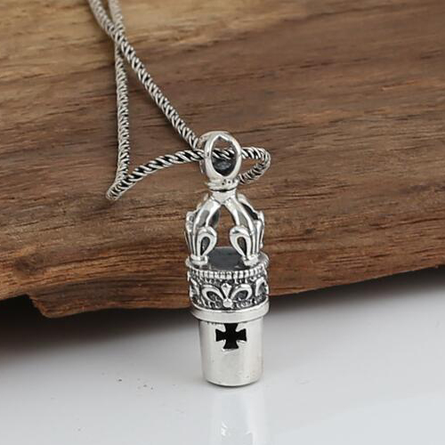 "Men's Sterling Silver Whistle Pendant Necklace with Sterling Silver Rope Chain 18""-24"""