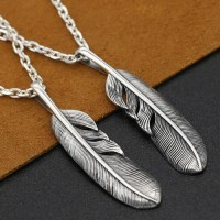 "Men's Sterling Silver Feather Pendant Necklace with Sterling Silver Anchor Link Chain 18""-30"""