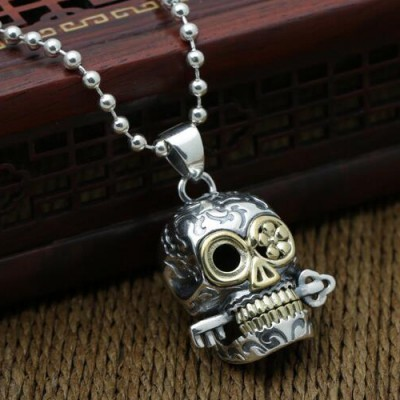 "Men's Sterling Silver Skull Pendant Necklace with Sterling Silver Bead Chain 18""-30"""
