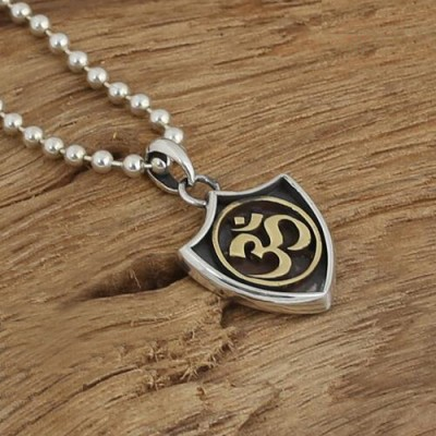 """Men's Sterling Silver Shield Necklace with Sterling Silver Bead Chain 18""""-30"""""""