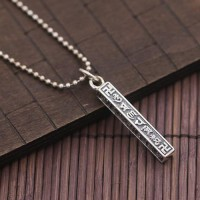 "Men's Sterling Silver Six Word Proverbs Square Cylinder Necklace with Sterling Silver Bead Chain 18""-28"""