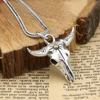 "Men's Sterling Silver Bull Skull Necklace with Sterling Silver Wheat Chain 18""-30"""