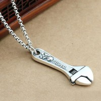 "Men's Sterling Silver Skull Wrench Necklace with Sterling Silver Rolo Chain 18""-30"""