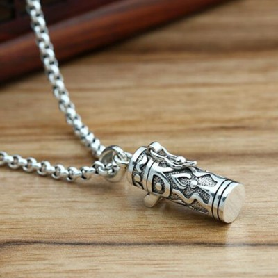 "Men's Sterling Silver Scriptures Box Necklace with Sterling Silver Rolo Chain 18""-30"""