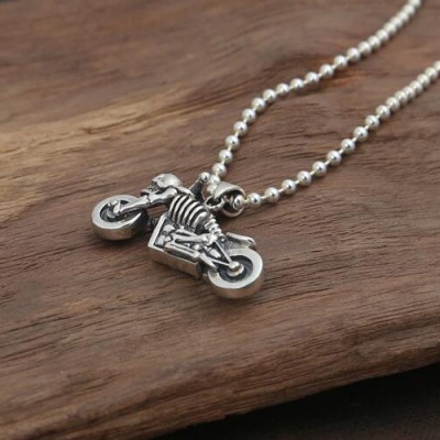 "Men's Sterling Silver Skull Biker Necklace with Sterling Silver Bead Chain 18""-30"""