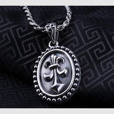 "Men's Sterling Silver France Fleur de lis Necklace with Sterling Silver Rope Chain 18""-24"""
