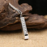 "Men's Sterling Silver Six Word Proverbs Whistle Necklace with Sterling Silver Rolo Chain 18""-24"""