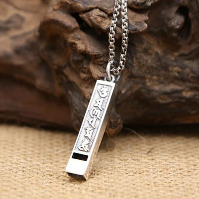 """Men's Sterling Silver Six Word Proverbs Whistle Necklace with Sterling Silver Rolo Chain 18""""-24"""""""
