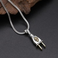 "Men's Sterling Silver Skull Plug Necklace with Sterling Silver Wheat Chain 18""-30"""