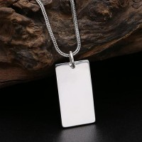 "Men's Fine Silver Plain Tag Necklace with Sterling Silver Wheat Chain 18""-30"""