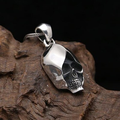 "Men's Sterling Silver Skull Necklace with Sterling Silver Wheat Chain 18""-30"""