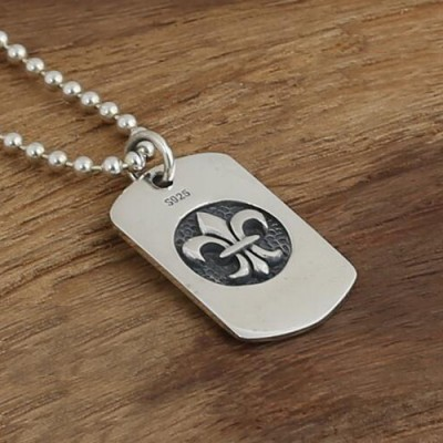 "Men's Sterling Silver France Fleur De Lis Tag Necklace with Sterling Silver Bead Chain 18""-30"""