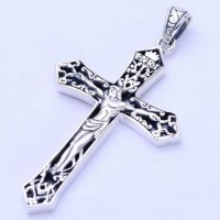 "Men's Sterling Silver Jesus Cross Necklace with Sterling Silver Wheat Chain 18""-30"""