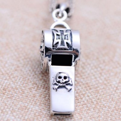 """Men's Sterling Silver Skull Whistle Necklace with Sterling Silver Anchor Link Chain 18""""-30"""""""