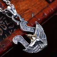 "Men's Sterling Silver Eagle Pendant Necklace with Sterling Silver Anchor Link Chain 18""-30"""