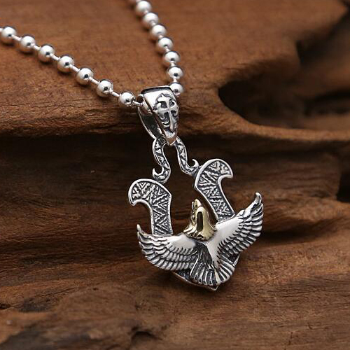 "Men's Sterling Silver Eagle Pendant Necklace with Sterling Silver Bead Chain 18""-30"""