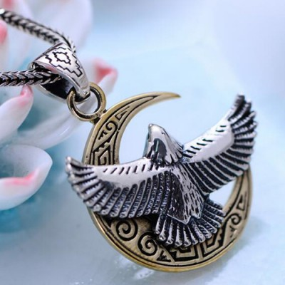 "Men's Sterling Silver Moon Eagle Necklace with Sterling Silver Wheat Chain 18""-30"""