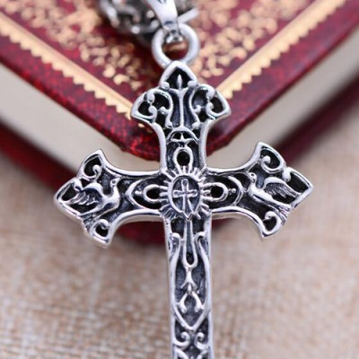 "Men's Sterling Silver Carved Cross Necklace with Sterling Silver Anchor Link Chain 18""-30"""