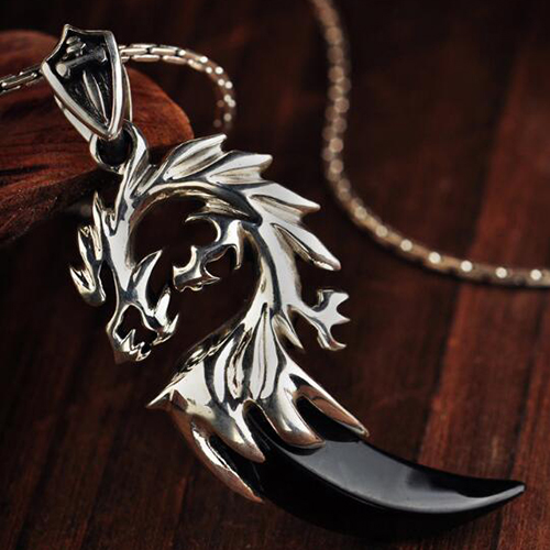"Men's Sterling Silver Black Agate Dragon Necklace with Sterling Silver Coreanna Chain 18""-24"""