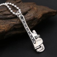"Men's Sterling Silver Pipe Wrench Necklace With Sterling Silver Bead Chain 18""-30"""
