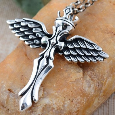 """Men's Sterling Silver Cross Wings Necklace with Sterling Silver Rolo Chain 18""""-30"""""""