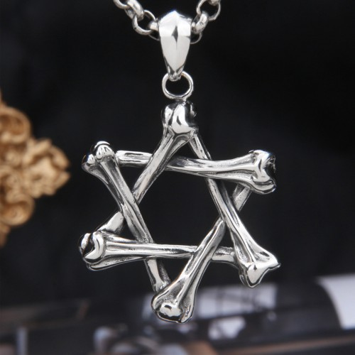 """Men's Sterling Silver Bone Star of David Necklace with Sterling Silver Rolo Chain 18""""-30"""""""