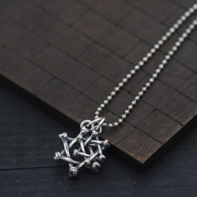 "Men's Sterling Silver Bone Star of David Necklace with Sterling Silver Bead Chain 18""-30"""