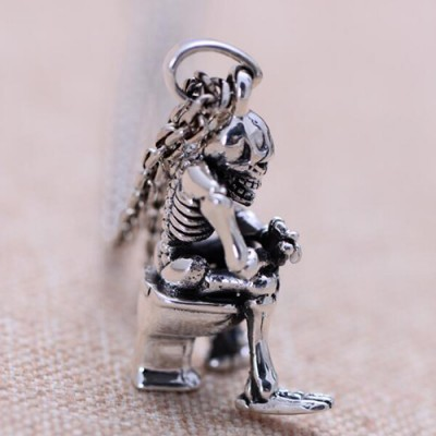 """Men's Sterling Silver Skull Thinker Necklace with Sterling Silver Anchor Link Chain 18""""-30"""""""
