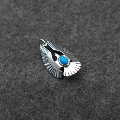 """Men's Sterling Silver Turquoise Eagle Necklace with Sterling Silver Rolo Chain 18""""-30"""""""
