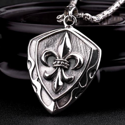 "Men's Sterling Silver France Fleur de lis Shield Necklace with Sterling Silver Tubes Chain 18""-24"""