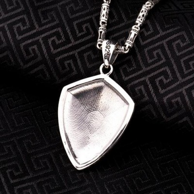 """Men's Sterling Silver France Fleur de lis Shield Necklace with Sterling Silver Tubes Chain 18""""-24"""""""