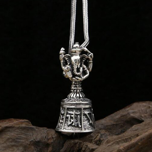 "Men's Sterling Silver Ganesha Bell Necklace with Sterling Silver Wheat Chain 18""-30"""