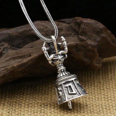 """Men's Sterling Silver Geneisha Bell Necklace with Sterling Silver Wheat Chain 18""""-30"""""""