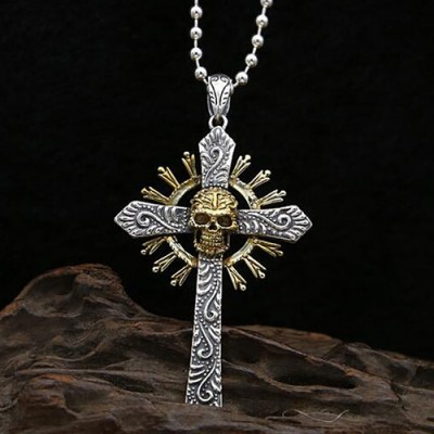 "Men's Sterling Silver Skull Cross Necklace with Sterling Silver Bead Chain 18""-30"""