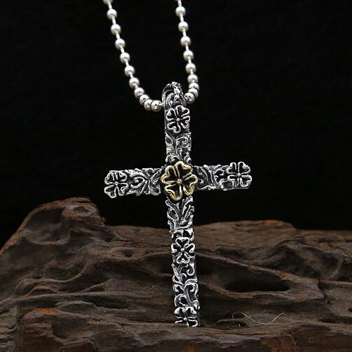 Mens sterling silver ring cross pendant necklace jewelry1000 mens sterling silver flower cross necklace with sterling silver bead chain mozeypictures Image collections