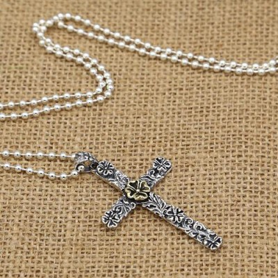 "Men's Sterling Silver Flower Cross Necklace with Sterling Silver Bead Chain 18""-30"""