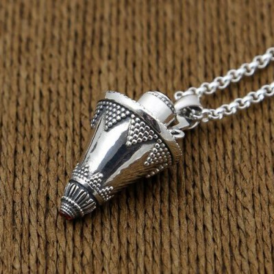 "Men's Sterling Silver Cone Gawu Box Necklace with Sterling Silver Rolo Chain 18""-30"""