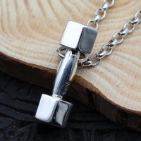 "Men's Sterling Silver Dumbbell Necklace with Sterling Silver Rolo Chain 18""-30"""