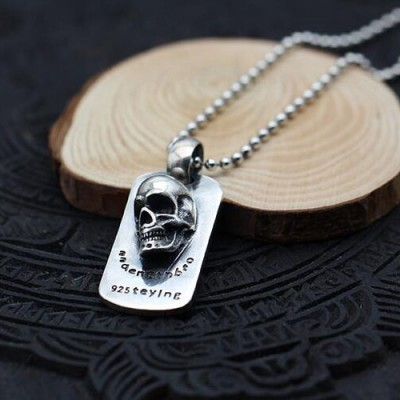"Men's Sterling Silver Skull Tag Necklace with Sterling Silver Bead Chain 18""-30"""